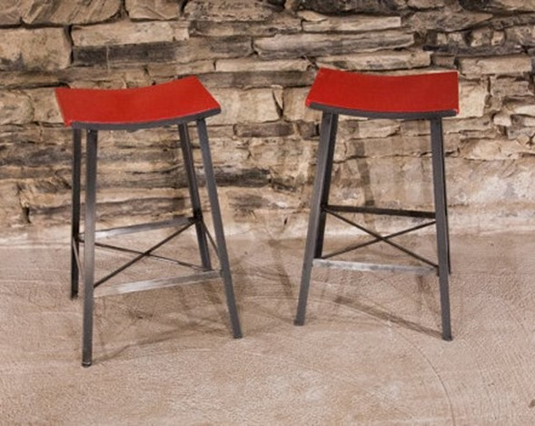 Vanguard Reclaimed Wood Bar Stool - Red Seat