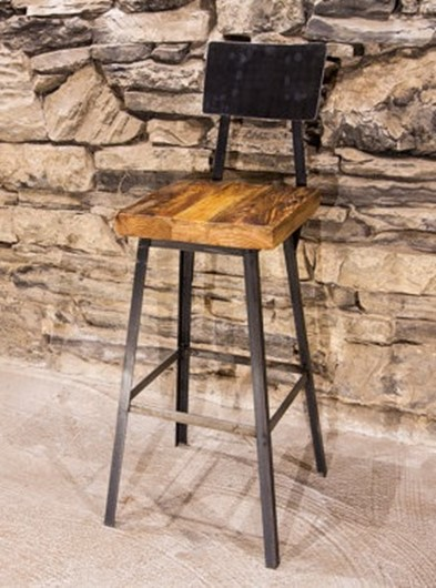 Clive Industrial Reclaimed Wood Bar Stool