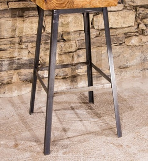 Reclaimed Wood Bar Stool with Welded Metal Legs